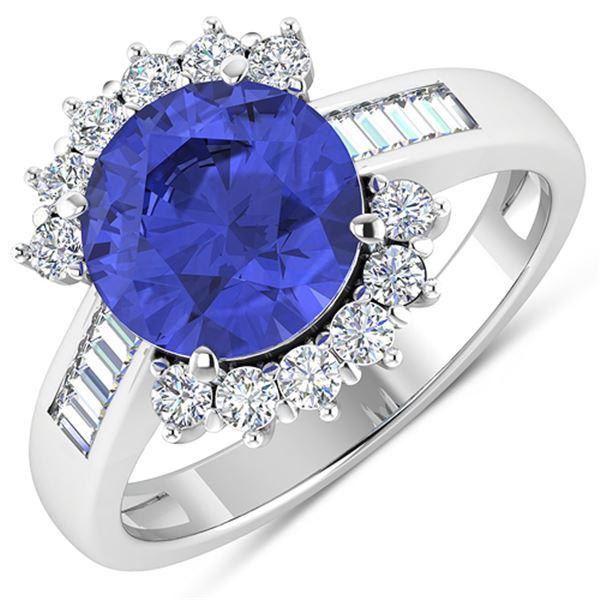 Natural 3.48 CTW Tanzanite & Diamond Ring 14K White Gold - REF-143R7F