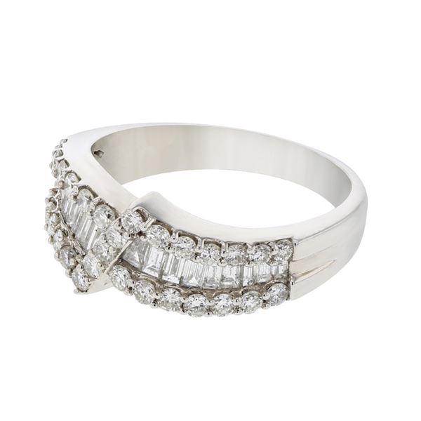 Natural 1.10 CTW Diamond & Baguette Ring 14K White Gold - REF-158F4M