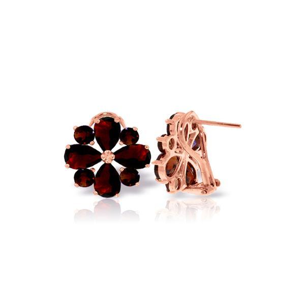 Genuine 4.85 ctw Garnet Earrings 14KT Rose Gold - REF-58H4X