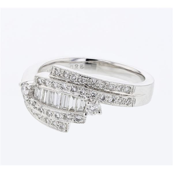 Natural 0.60 CTW Baguette & Diamond Ring 18K White Gold - REF-104K4R
