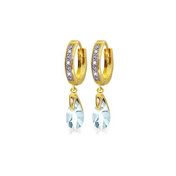 Genuine 2.53 ctw Aquamarine & Diamond Earrings 14KT Yellow Gold - REF-60X3M