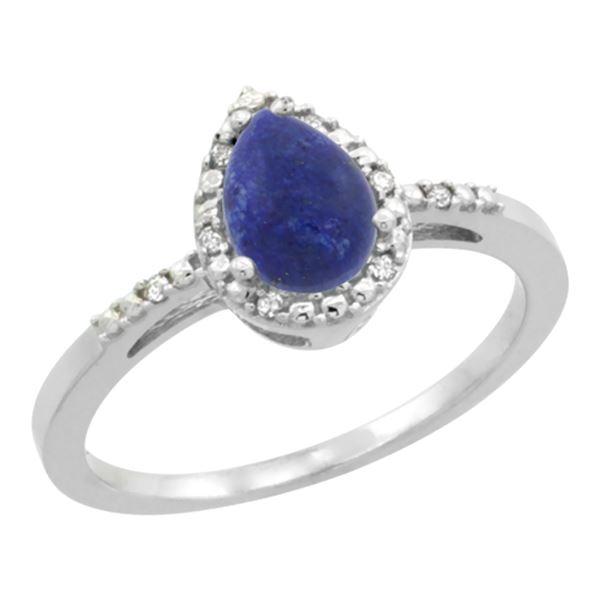 0.85 CTW Lapis Lazuli & Diamond Ring 10K White Gold - REF-19W4F