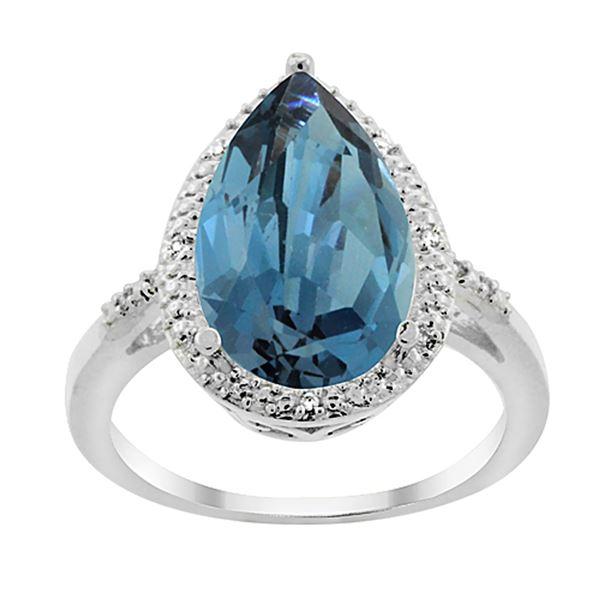 5.55 CTW London Blue Topaz & Diamond Ring 10K White Gold - REF-37V4R