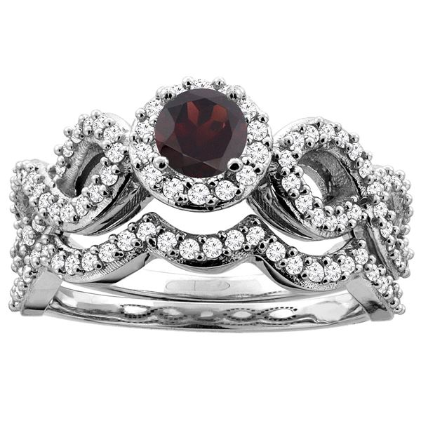 1.10 CTW Garnet & Diamond Ring 14K White Gold - REF-93N4Y