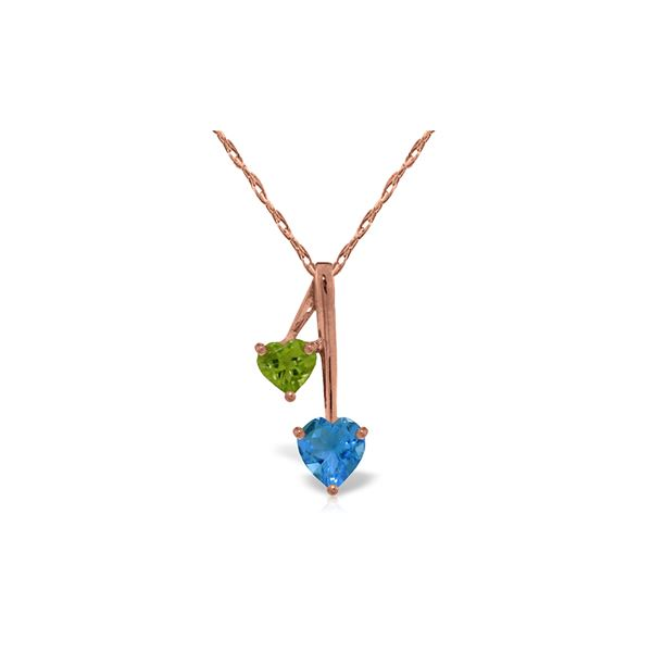 Genuine 1.40 ctw Blue Topaz & Peridot Necklace 14KT Rose Gold - REF-23X8M