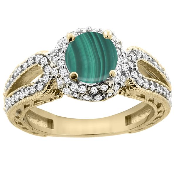 2.68 CTW Malachite & Diamond Ring 14K Yellow Gold - REF-86F2N