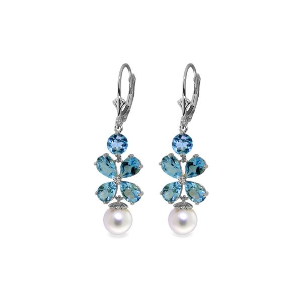 Genuine 6.28 ctw Blue Topaz & Pearl Earrings 14KT White Gold - REF-49M8T