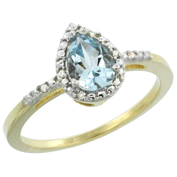 1.55 CTW Aquamarine & Diamond Ring 10K Yellow Gold - REF-25Y6V