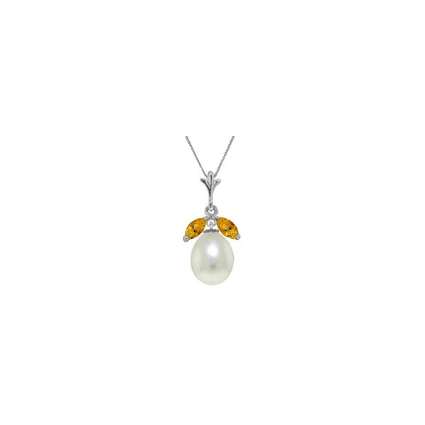 Genuine 4.5 ctw Pearl & Citrine Necklace 14KT White Gold - REF-24K3V