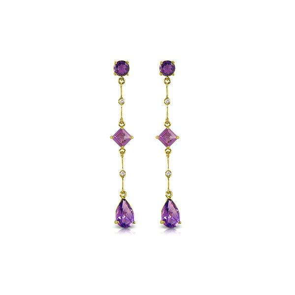 Genuine 6.06 ctw Amethyst & Diamond Earrings 14KT Yellow Gold - REF-33R8P