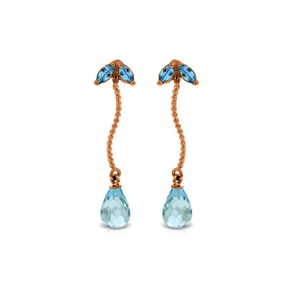 Genuine 3.4 ctw Blue Topaz Earrings 14KT Rose Gold - REF-21V6W