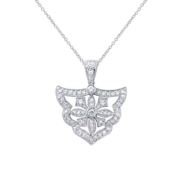 Natural 0.49 CTW Diamond Necklace 18K White Gold - REF-100T8X