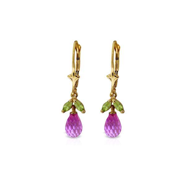 Genuine 3.4 ctw Pink Topaz & Peridot Earrings 14KT Yellow Gold - REF-26Y6F