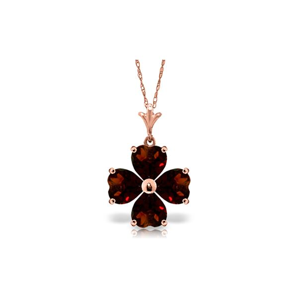 Genuine 3.8 ctw Garnet Necklace 14KT Rose Gold - REF-42H2X