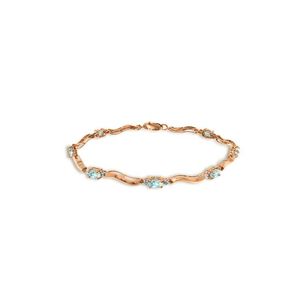 Genuine 2.01 ctw Aquamarine & Diamond Bracelet 14KT Rose Gold - REF-79H7X