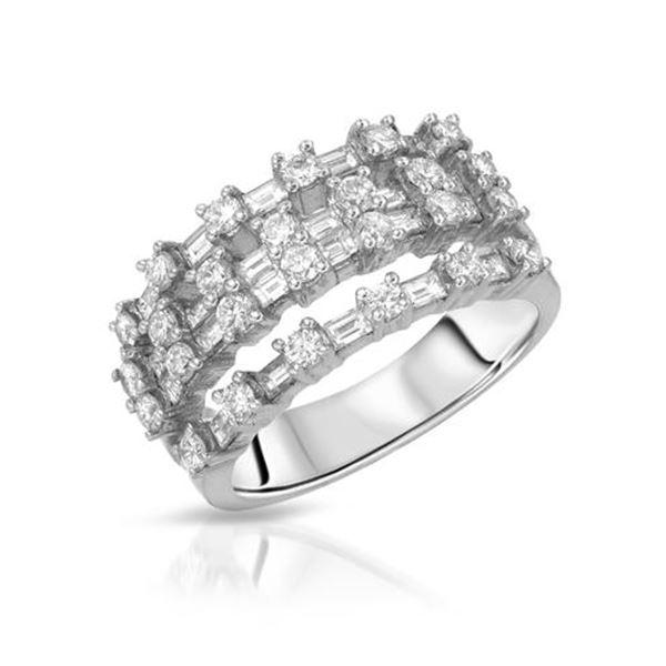 Natural 1.47 CTW Diamond & Baguette Ring 18K White Gold - REF-240K3R