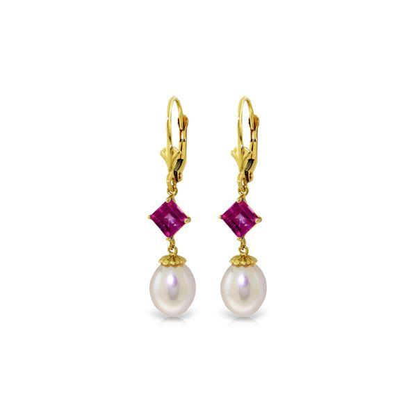 Genuine 9.5 ctw Pink Topaz Earrings 14KT Yellow Gold - REF-25Y6F