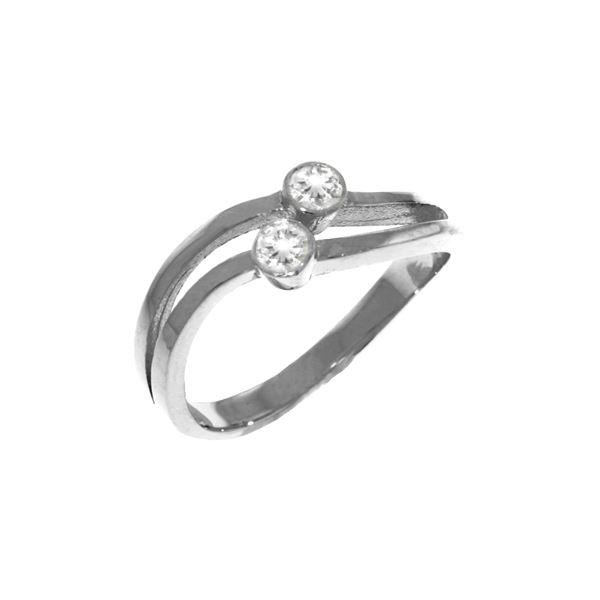 Genuine 0.20 ctw Diamond Anniversary Ring 14KT White Gold - REF-63W3Y
