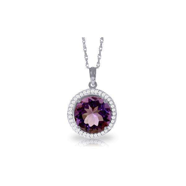 Genuine 6.2 ctw Amethyst & Diamond Necklace 14KT White Gold - REF-70Z6N