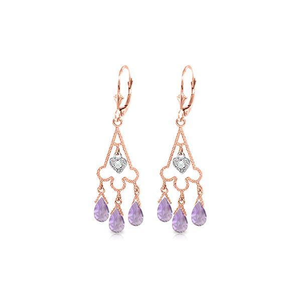 Genuine 4.83 ctw Amethyst & Diamond Earrings 14KT Rose Gold - REF-52Y7F