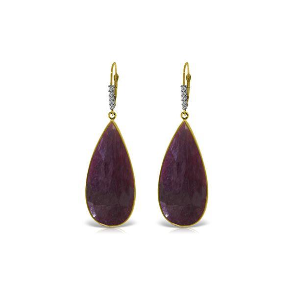 Genuine 40.15 ctw Ruby & Diamond Earrings 14KT Yellow Gold - REF-130Z3N