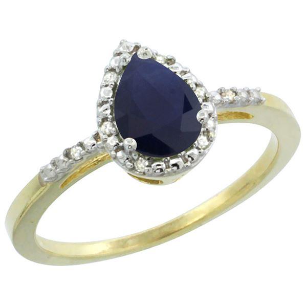 0.85 CTW Blue Sapphire & Diamond Ring 10K Yellow Gold - REF-25A6X