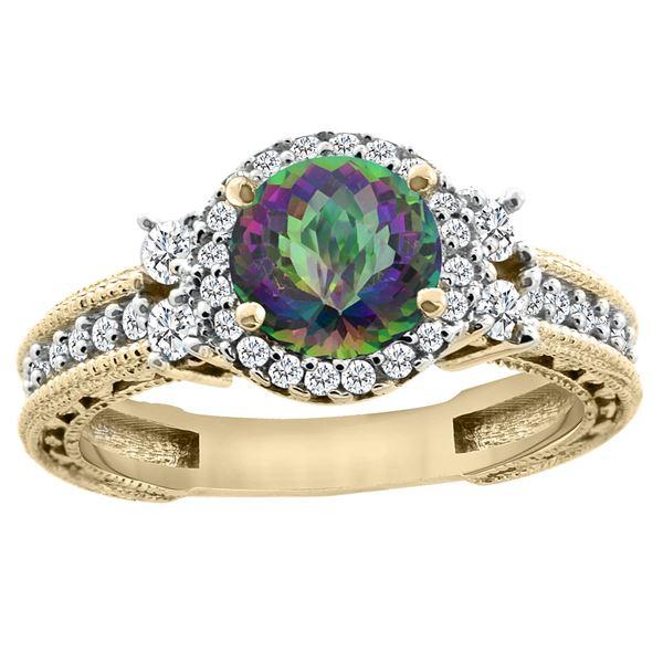 1.46 CTW Mystic Topaz & Diamond Ring 14K Yellow Gold - REF-77X4M