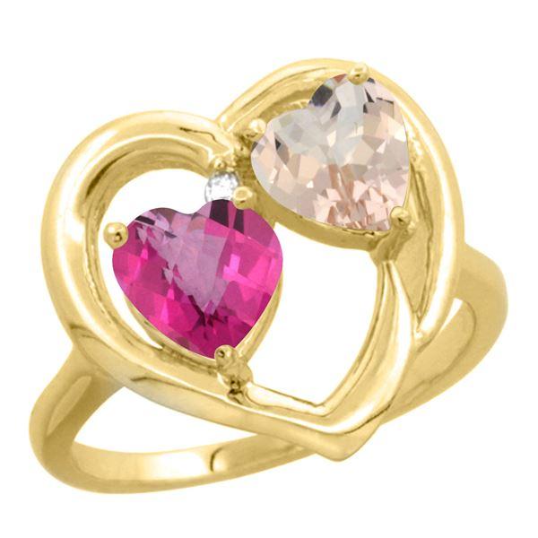 1.91 CTW Diamond, Pink Topaz & Morganite Ring 14K Yellow Gold - REF-36K6W