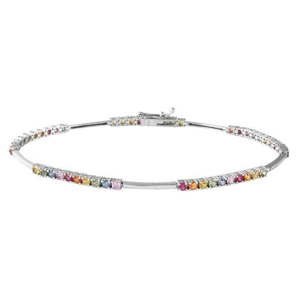 Natural 2.43 CTW Multi-Sapphire Bracelet 18K White Gold - REF-80T3X