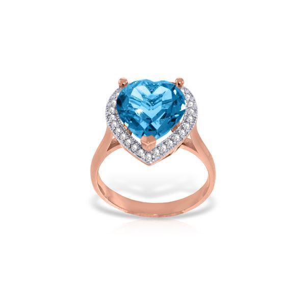 Genuine 6.44 ctw Blue Topaz & Diamond Ring 14KT Rose Gold - REF-69V6W