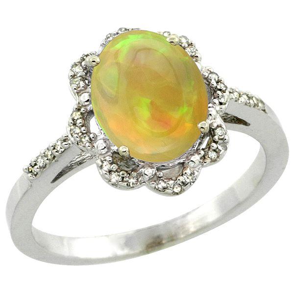 1.41 CTW Ethiopian Opal & Diamond Ring 10K White Gold - REF-42N3Y