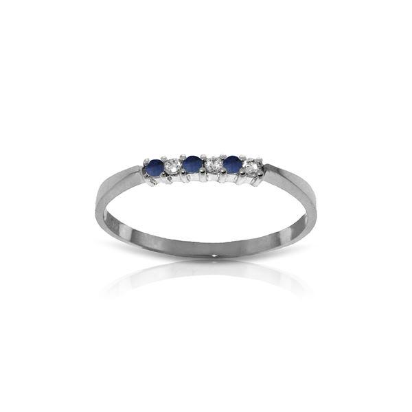 Genuine 0.11 ctw Sapphire & Diamond Ring 14KT White Gold - REF-27Z5N