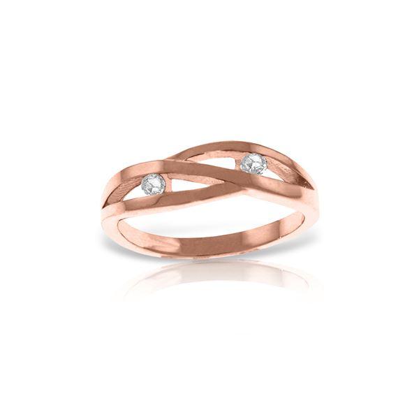 Genuine 0.10 ctw Diamond Anniversary Ring 14KT Rose Gold - REF-54N9R