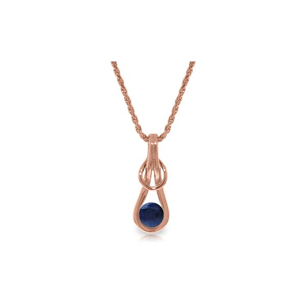 Genuine 0.65 ctw Sapphire Necklace 14KT Rose Gold - REF-76Z4N