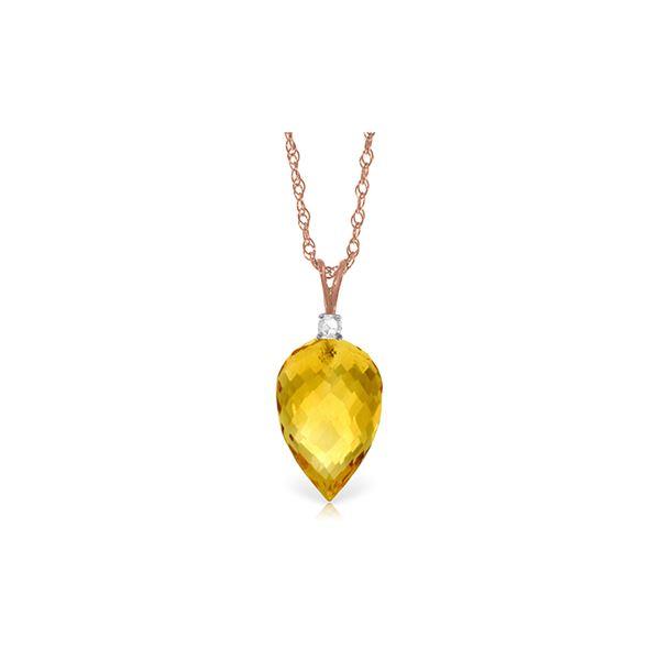 Genuine 9.55 ctw Citrine & Diamond Necklace 14KT Rose Gold - REF-25Y3F
