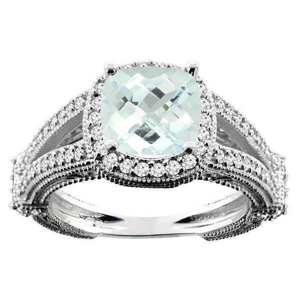 4.10 CTW Aquamarine & Diamond Ring 14K White Gold - REF-65A5X