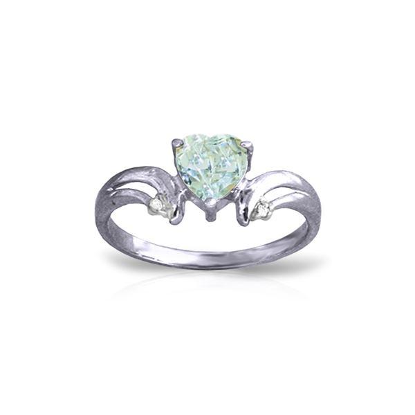 Genuine 0.96 ctw Aquamarine & Diamond Ring 14KT White Gold - REF-44Z3N