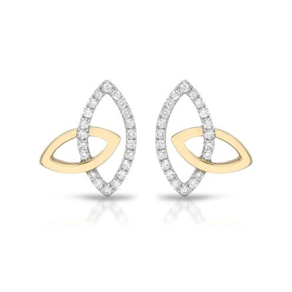Natural 0.27 CTW Diamond Earrings 14K Two Tone Yellow Gold - REF-32W4H