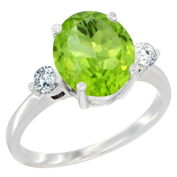 2.98 CTW Peridot & Diamond Ring 14K White Gold - REF-72V2R