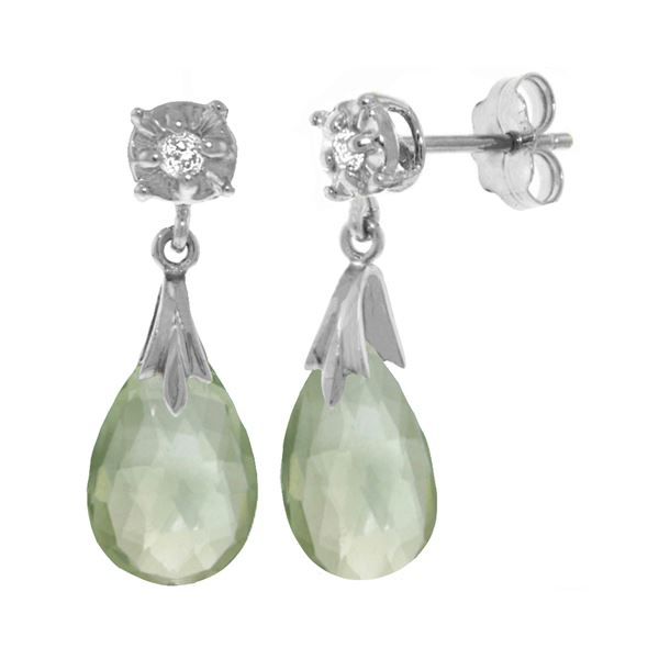 Genuine 6.06 ctw Green Amethyst & Diamond Earrings 14KT White Gold - REF-37T4A