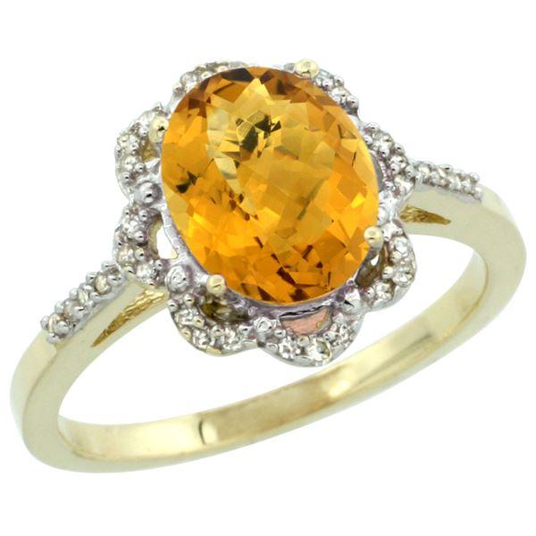 1.86 CTW Quartz & Diamond Ring 10K Yellow Gold - REF-36M2K