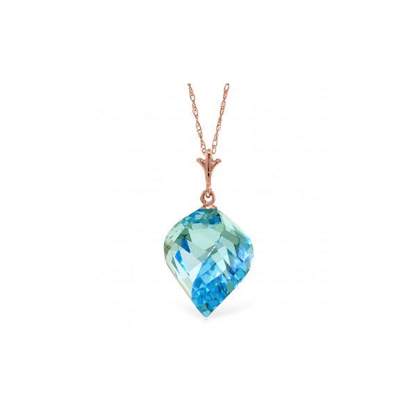 Genuine 13.9 ctw Blue Topaz Necklace 14KT Rose Gold - REF-41P3H
