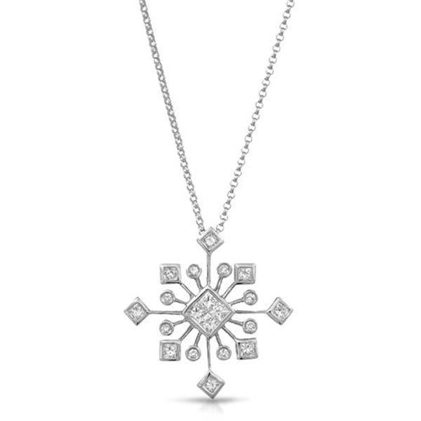 Natural 0.66 CTW Princess Diamond & Princess Diamond Necklace 18K White Gold - REF-113T4X
