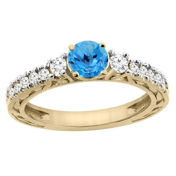 1.35 CTW Swiss Blue Topaz & Diamond Ring 14K Yellow Gold - REF-79M5K