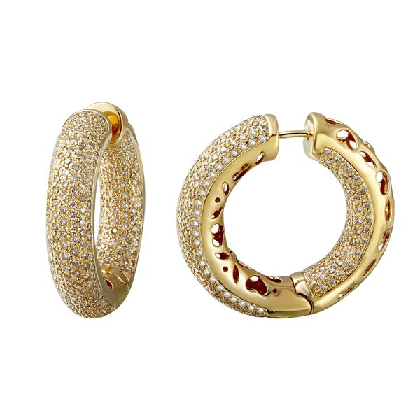 Natural 5.74 CTW Diamond Earrings 14K Yellow Gold - REF-608T4X