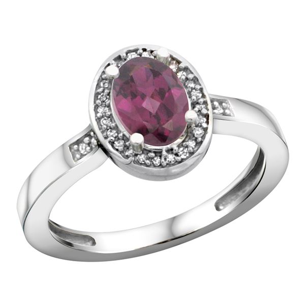 1.15 CTW Rhodolite & Diamond Ring 14K White Gold - REF-38M4A