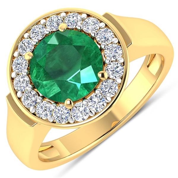 Natural 2.38 CTW Zambian Emerald & Diamond Ring 14K Yellow Gold - REF-107W8X