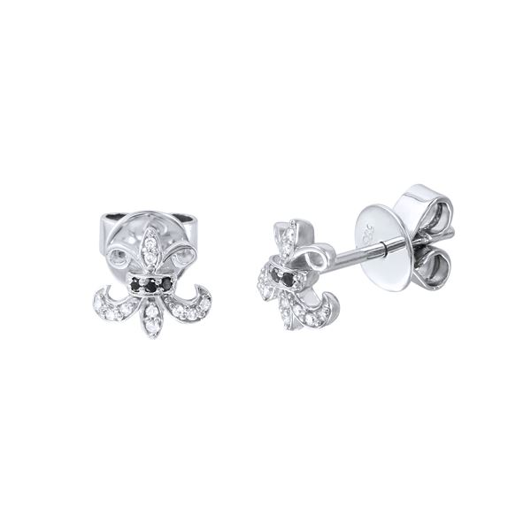 Natural 0.10 CTW Diamond & Black Round Diamond Earrings 14K White Gold - REF-23N4Y
