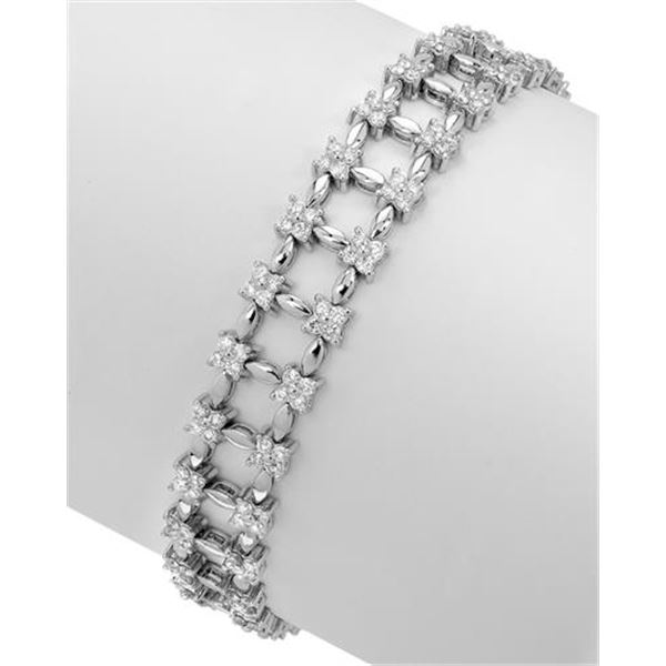 Natural 3.15 CTW Diamond & Bracelet 18K White Gold - REF-379F8M