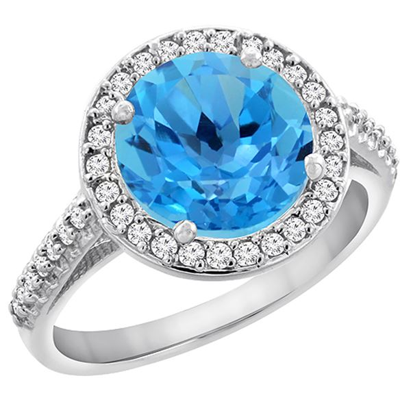 2.44 CTW Swiss Blue Topaz & Diamond Ring 14K White Gold - REF-56W2F